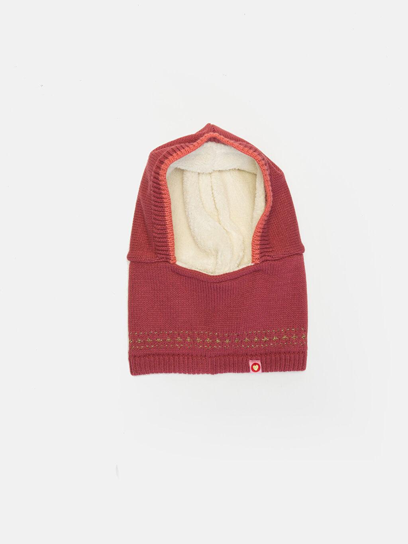Kırmızı Kız Çocuk Triko Kar Maskesi Bere 9W5326Z4 LC Waikiki