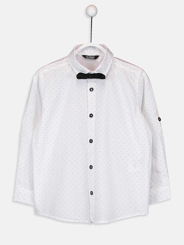 Beyaz Erkek Çocuk Pamuklu Gömlek ve Papyon 9W5612Z4 LC Waikiki