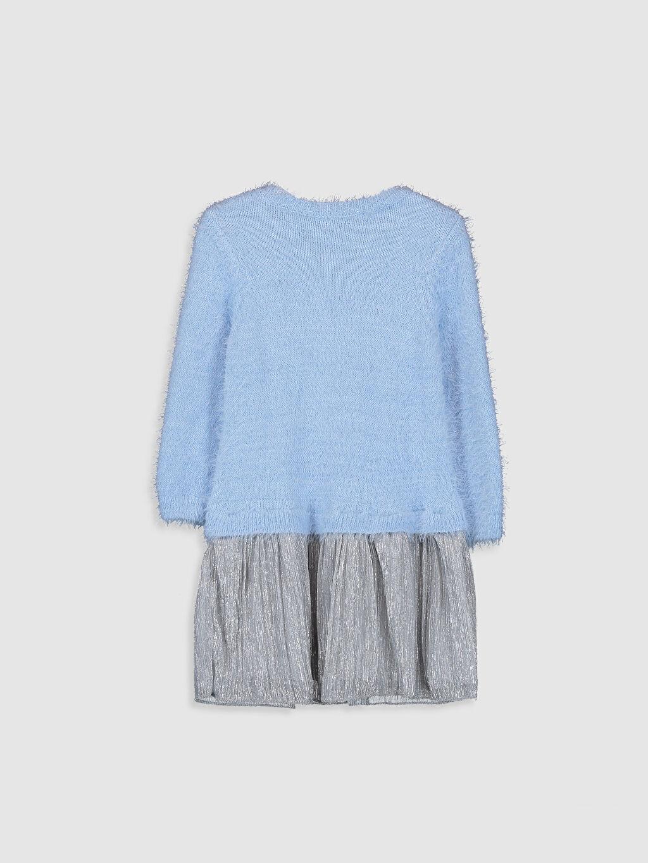 %28 Akrilik %72 Poliamid %100 Pamuk Diz Üstü Düz Kız Çocuk Triko Elbise