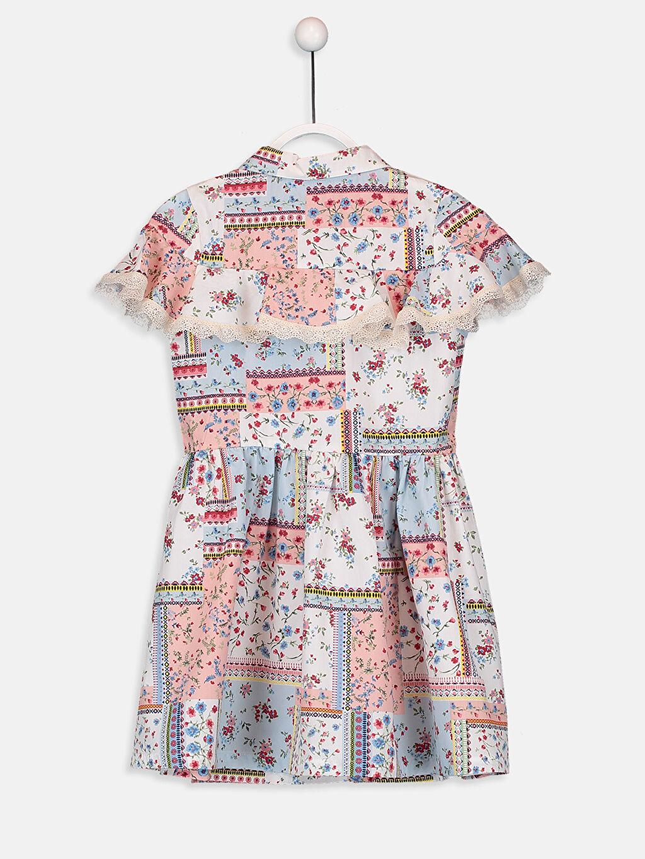 %100 Pamuk Diz Üstü Desenli Kız Çocuk Çiçekli Gömlek Elbise