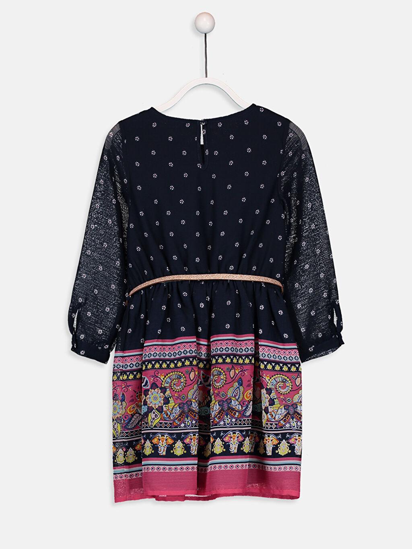 %100 Poliüretan %100 Polyester %100 Pamuk Diz Üstü Desenli Kız Çocuk Desenli Şifon Elbise ve Kemer