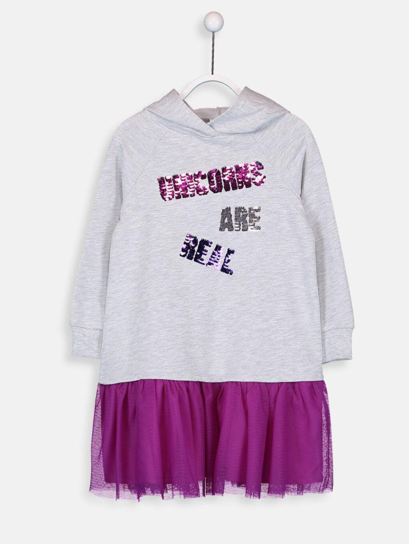 %62 Pamuk %38 Polyester Diz Üstü Desenli Kız Çocuk Pul İşlemeli Sweatshirt Elbise