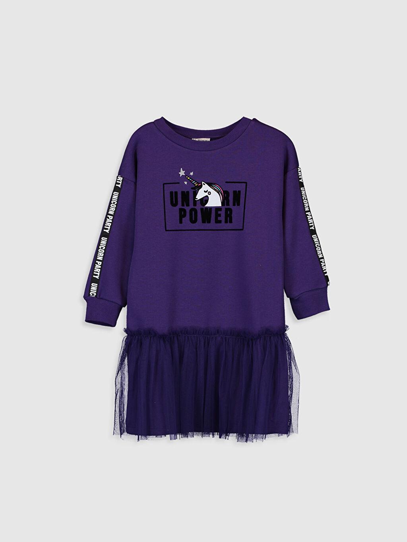 Mor Kız Çocuk Tüllü Sweatshirt Elbise 9W7245Z4 LC Waikiki