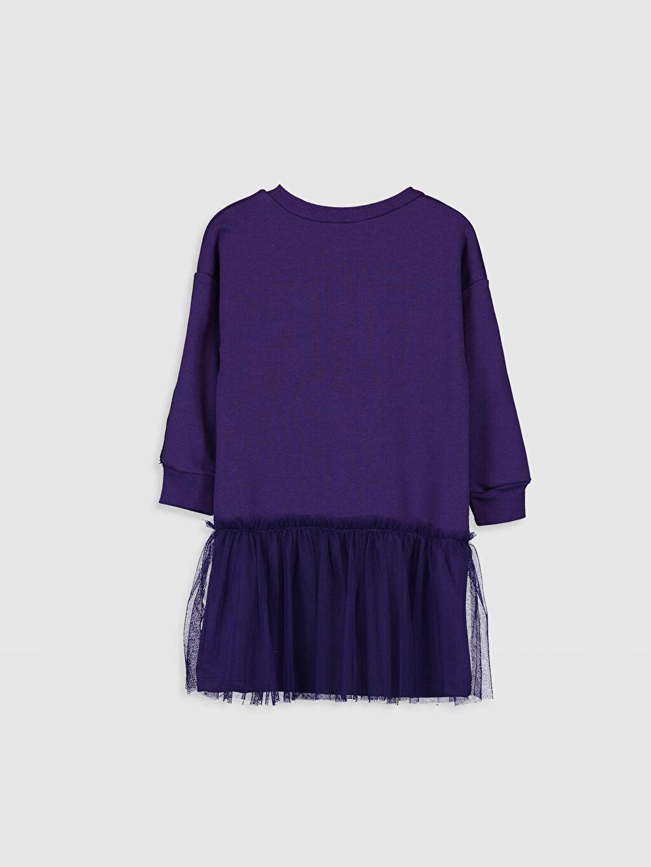 %60 Pamuk %40 Polyester Diz Üstü Desenli Kız Çocuk Tüllü Sweatshirt Elbise