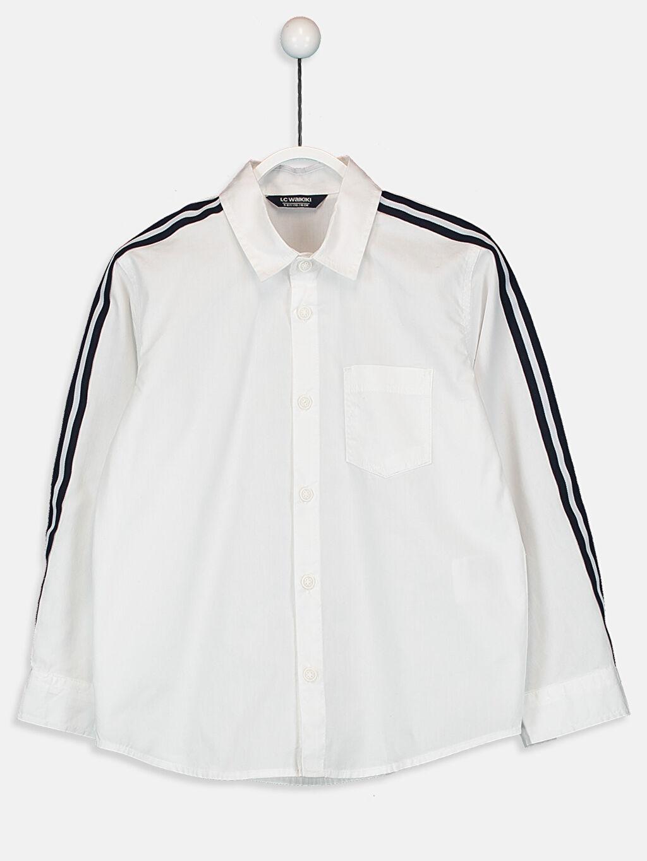 Beyaz Erkek Çocuk Kolları Çizgili Pamuklu Gömlek 9W7417Z4 LC Waikiki