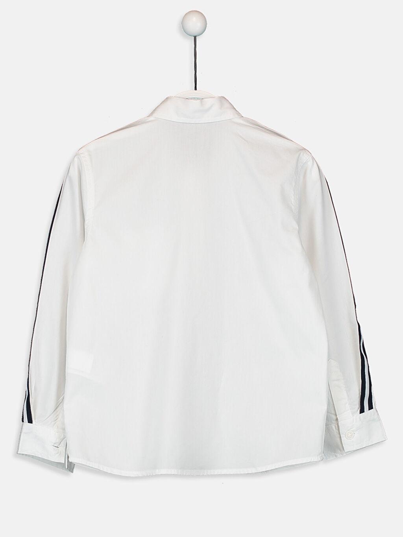 %100 Pamuk Standart Düz Uzun Kol Erkek Çocuk Kolları Çizgili Pamuklu Gömlek