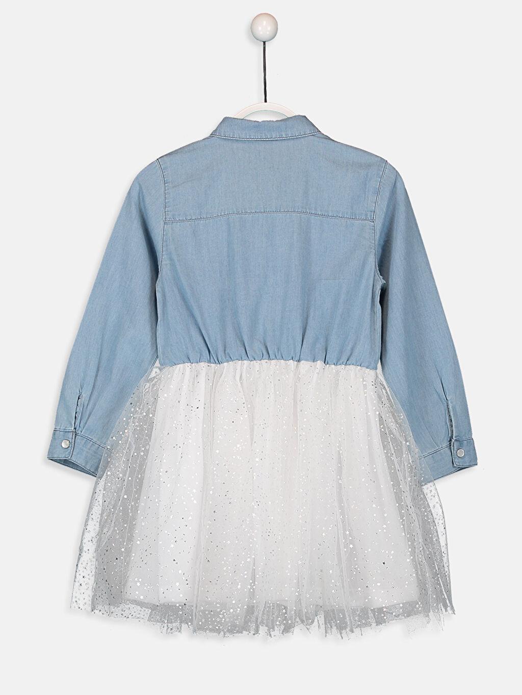 %100 Pamuk %100 Polyester Diz Üstü Düz Kız Çocuk Tütü Jean Elbise