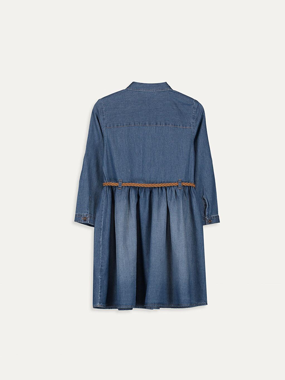 %100 Pamuk Diz Üstü Desenli Kız Çocuk Nakışlı Jean Elbise ve Kemer