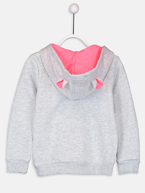 %44 Pamuk %56 Polyester  Kız Çocuk Kapüşonlu Sweatshirt