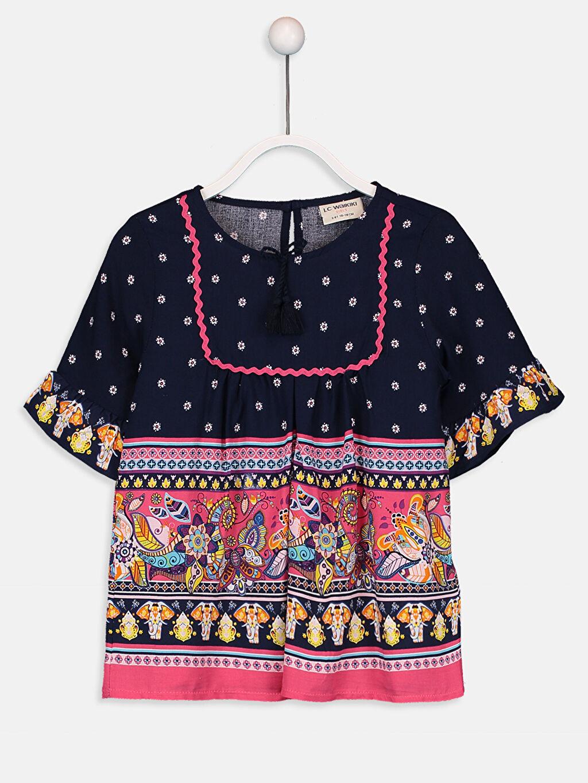 Lacivert Kız Çocuk Desenli Viskon Bluz 9WG207Z4 LC Waikiki