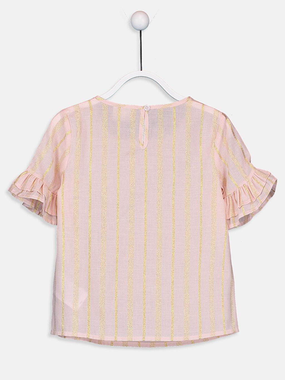 %91 Pamuk %4 Poliester %5 Metalik iplik Standart Çizgili Kısa Kol Bluz Kız Çocuk Fırfırlı Poplin Bluz