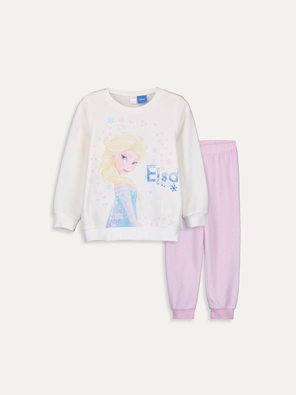 Ekru Kız Çocuk Elsa Baskılı Polar Pijama Takımı 9WG310Z4 LC Waikiki