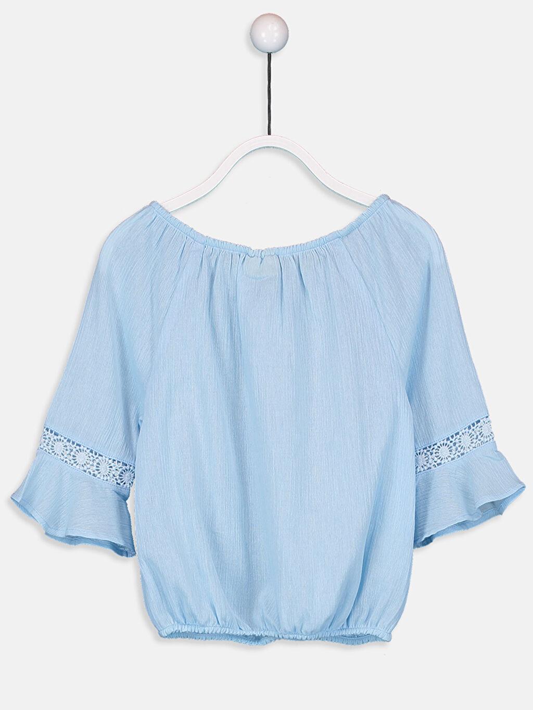 %100 Pamuk Düz Uzun Kol Bluz Standart Kız Çocuk Dantel Detaylı Pamuklu Bluz