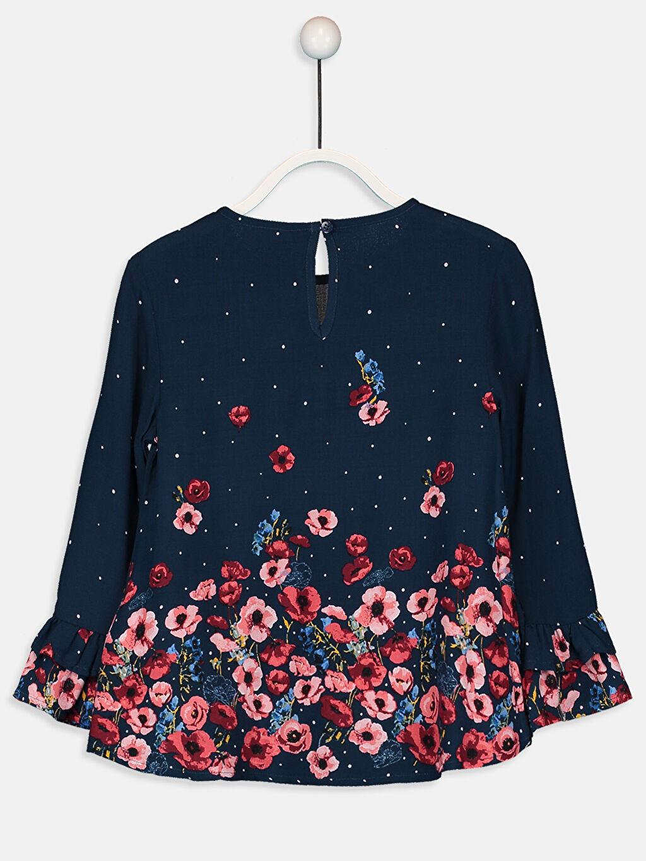 %100 Viskoz Standart Desenli Uzun Kol Bluz Kız Çocuk Çiçekli Viskon Bluz