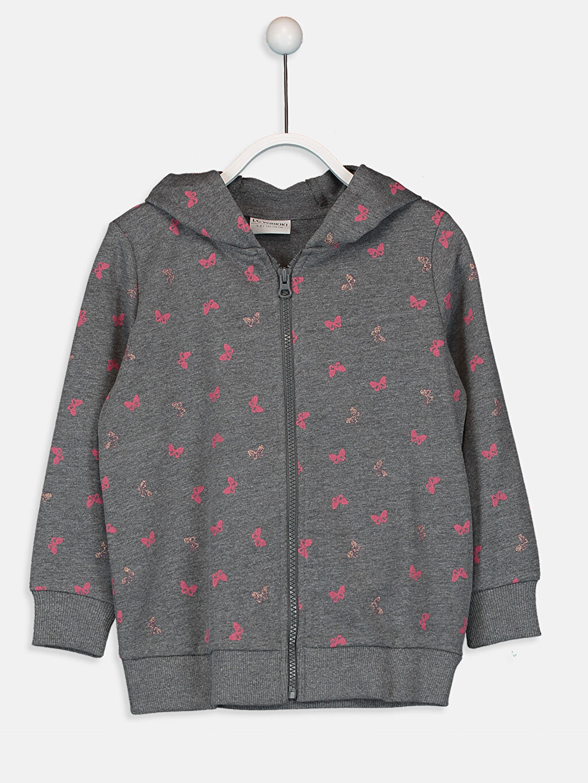 Antrasit Kız Çocuk Fermuarlı Kapüşonlu Sweatshirt 9WG645Z4 LC Waikiki