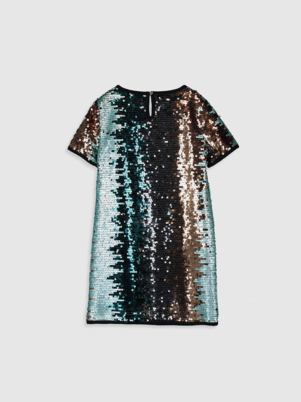 %100 Polyester %100 Pamuk  Kız Çocuk Pul Payet İşlemeli Elbise