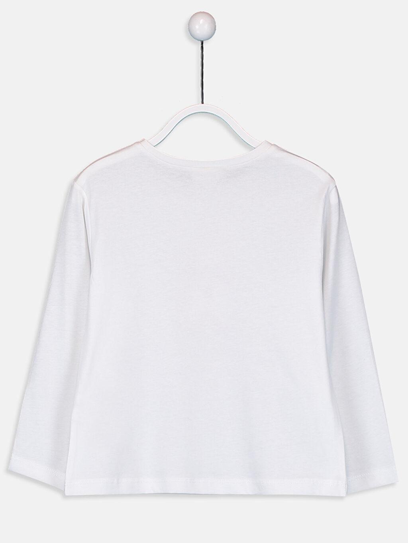 %100 Pamuk Standart Baskılı Tişört Bisiklet Yaka Uzun Kol Kız Çocuk Baskılı Aplikeli Pamuklu Tişört