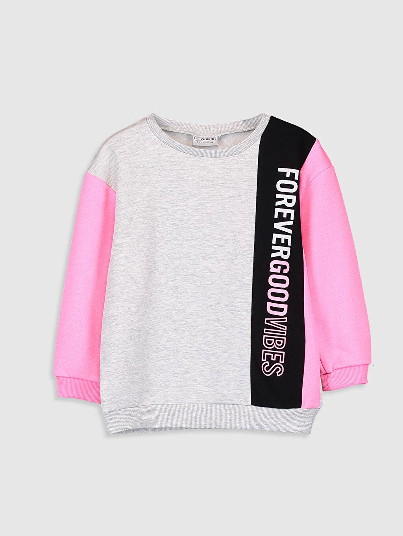Gri Kız Çocuk Yazı Baskılı Sweatshirt 9WG816Z4 LC Waikiki