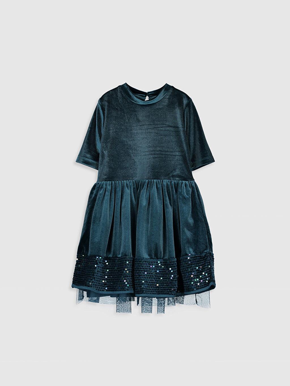 Petrol Kız Çocuk Pul İşlemeli Kadife Elbise 9WG971Z4 LC Waikiki