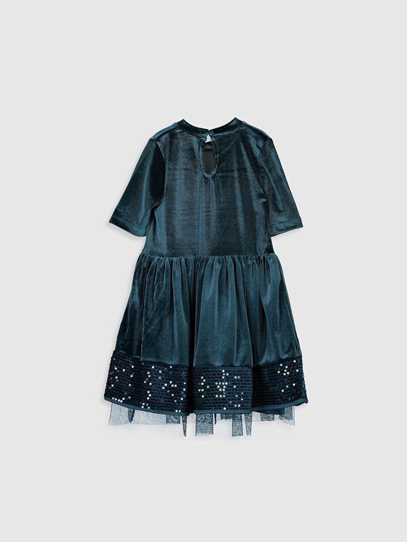 %93 Polyester %7 Elastan %100 Pamuk Diz Üstü Düz Kız Çocuk Pul İşlemeli Kadife Elbise