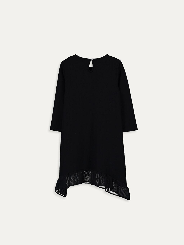 %83 Pamuk %17 Polyester Diz Üstü Desenli Kız Çocuk Baskılı Uzun Kollu Elbise