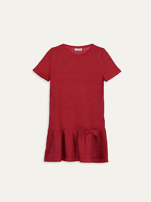 Kırmızı Kız Çocuk Fiyonk Detaylı Triko Elbise 9WH202Z4 LC Waikiki