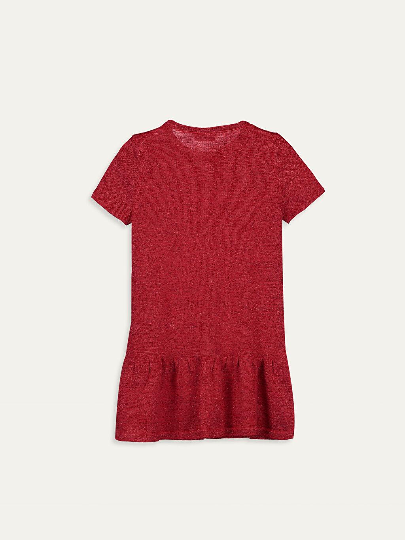 %81 Pamuk %9 Polyester %10 Metalik iplik Diz Üstü Düz Kız Çocuk Fiyonk Detaylı Triko Elbise