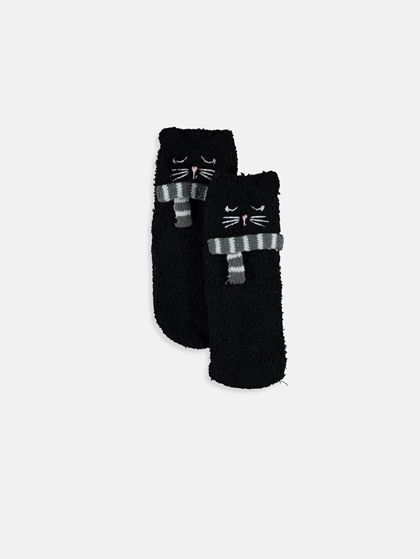 Siyah Kız Çocuk Ev Çorabı 9WH677Z4 LC Waikiki