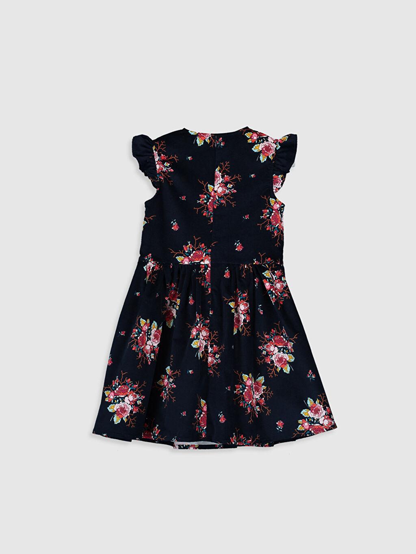 %98 Pamuk %2 Elastan Diz Üstü Desenli Kız Çocuk Çiçekli Kadife Elbise