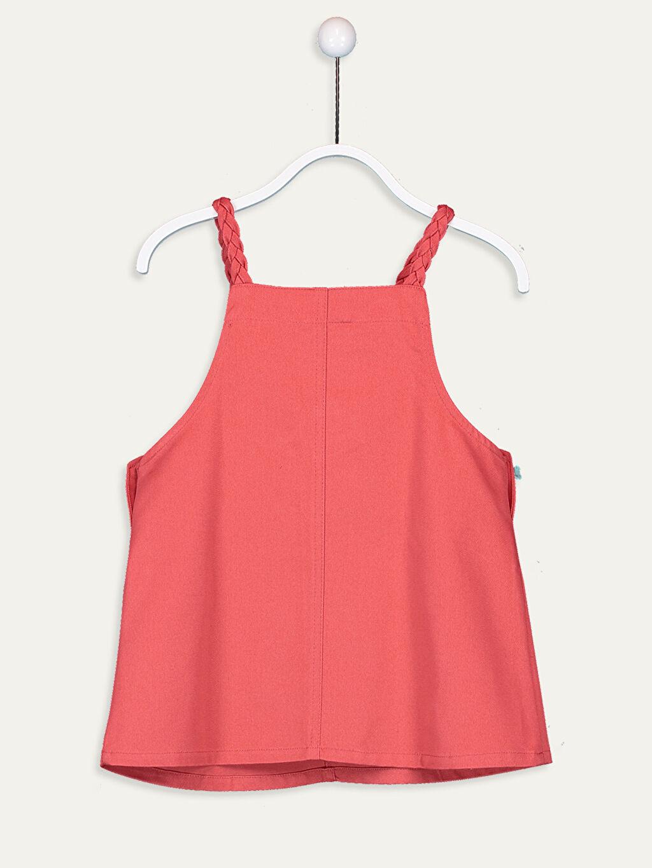 %100 Pamuk %100 Pamuk Diz Üstü Düz Kız Çocuk Örgü Askılı Elbise