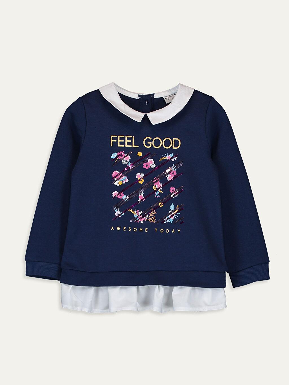 Lacivert Kız Çocuk Baskılı Sweatshirt 9WH886Z4 LC Waikiki