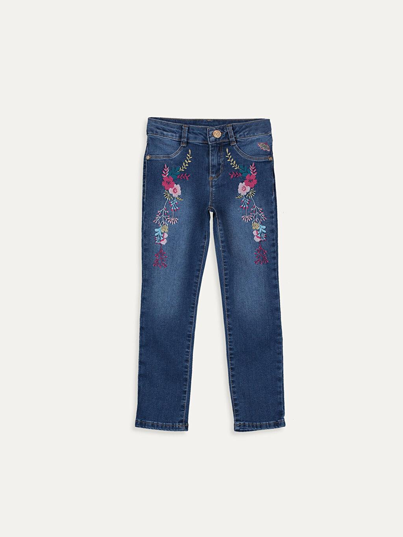 İndigo Kız Çocuk Nakışlı Slim Jean Pantolon 9WH925Z4 LC Waikiki