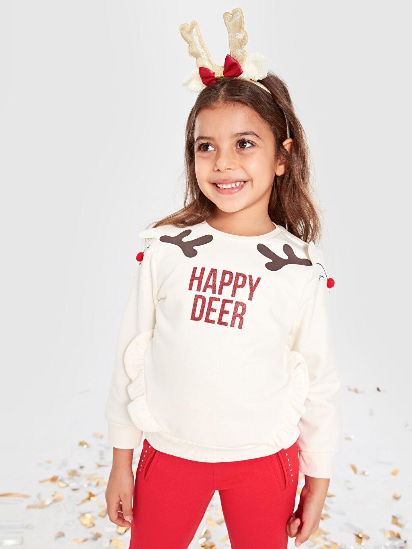 Kız Çocuk Fırfırlı Sweatshirt ve Taç