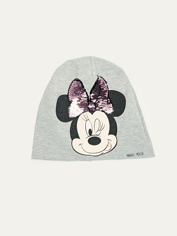 Gri Kız Çocuk Minnie Mouse Baskılı Triko Bere 9WI840Z4 LC Waikiki
