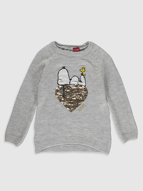 Ekru Kız Çocuk Snoopy Desenli Kalın Triko Kazak 9WI895Z4 LC Waikiki