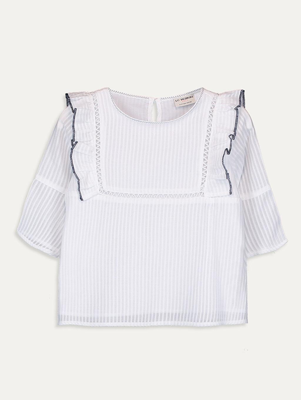Beyaz Kız Çocuk Fırfırlı Pamuklu Bluz 9WJ895Z4 LC Waikiki