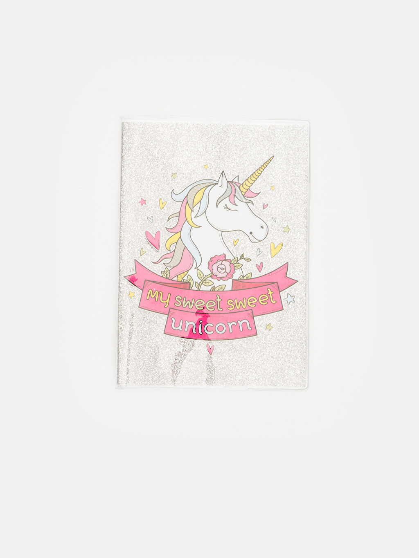 Çok Renkli Kız Çocuk Unicorn Baskılı Kareli Defter 9WK064Z4 LC Waikiki