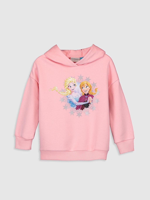 Pembe Kız Çocuk Elsa Baskılı Sweatshirt 9WK275Z4 LC Waikiki