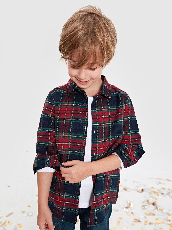 %71 Pamuk %29 Polyester Erkek Çocuk Ekose Twill Gömlek