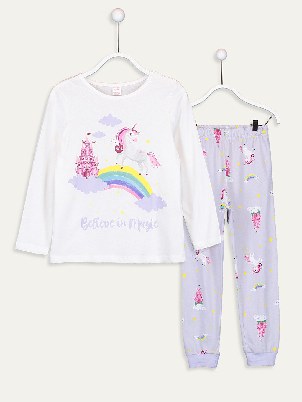 %100 Pamuk Pijamalar Standart Kız Çocuk Baskılı Pamuklu Pijama Takımı