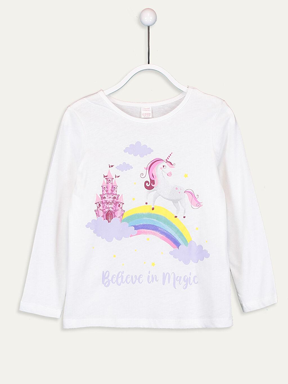 LC Waikiki Beyaz Kız Çocuk Baskılı Pamuklu Pijama Takımı