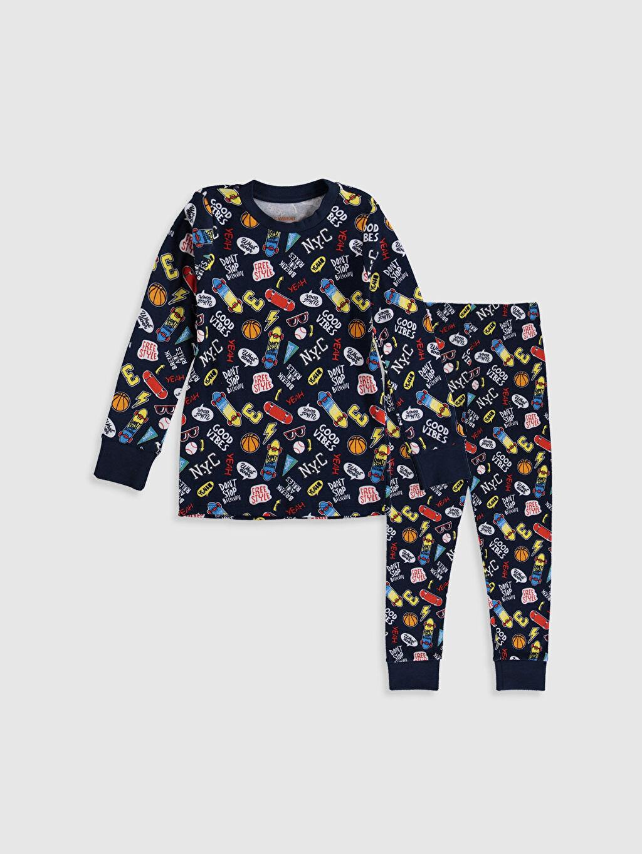 Lacivert Erkek Çocuk Baskılı Pamuklu Pijama Takımı 9WL697Z4 LC Waikiki