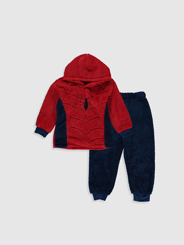 Kırmızı Erkek Çocuk Spiderman Pelüş Pijama Takımı 9WL755Z4 LC Waikiki