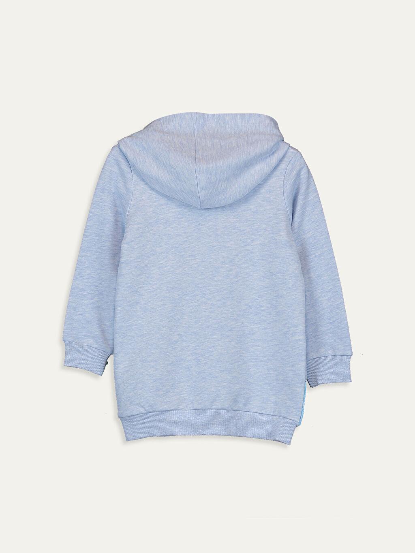 %63 Pamuk %37 Polyester  Kız Çocuk Elsa Baskılı Kapüşonlu Sweatshirt