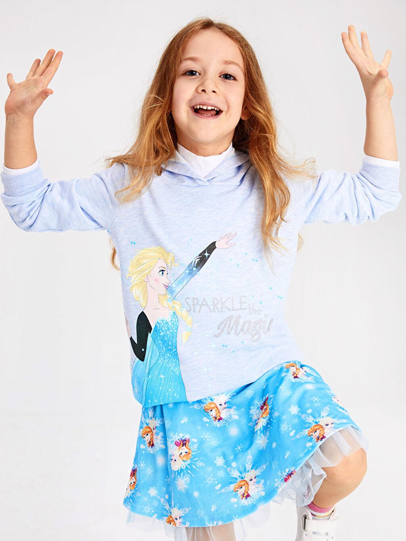 Kız Çocuk Kız Çocuk Elsa Baskılı Kapüşonlu Sweatshirt