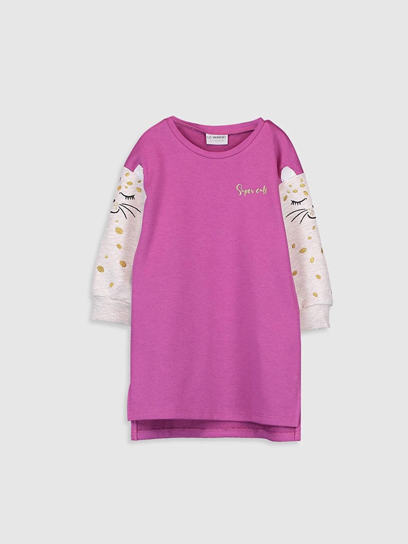 Mor Kız Çocuk Baskılı Sweatshirt Elbise 9WM518Z4 LC Waikiki