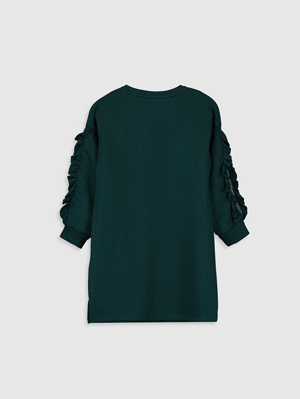 %69 Pamuk %31 Polyester Diz Üstü Desenli Kız Çocuk Fırfır Detaylı Sweatshirt Elbise