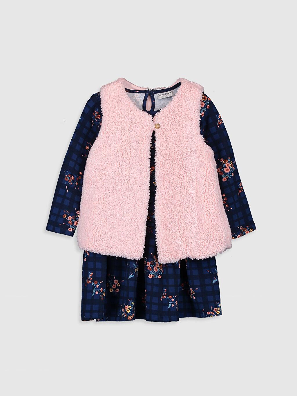Lacivert Kız Çocuk Çiçekli Elbise ve Pelüşl Yelek 9WM520Z4 LC Waikiki