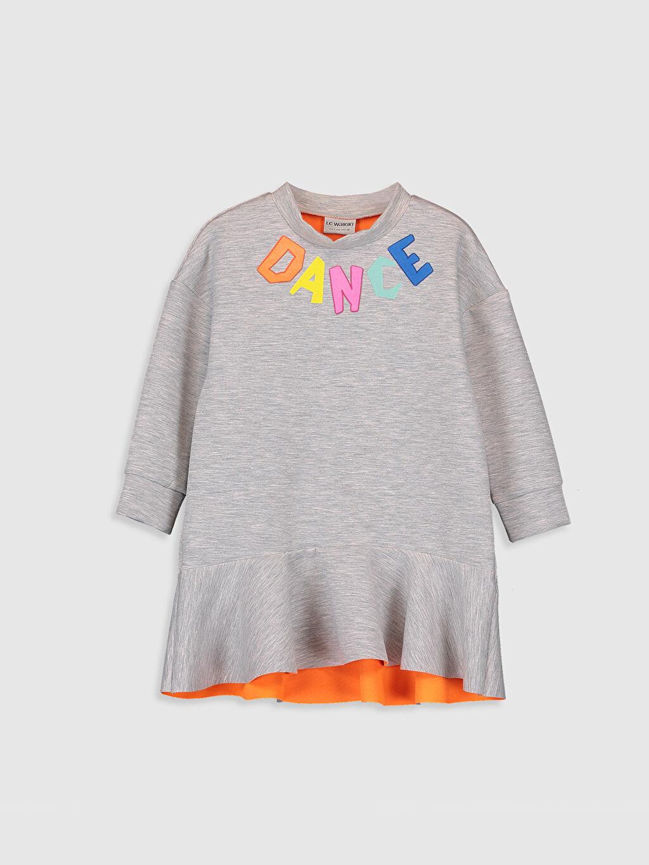 Gri Kız Çocuk Yazı Baskılı Fırfırlı Elbise 9WM530Z4 LC Waikiki