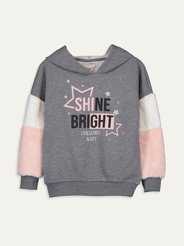 Gri Kız Çocuk Baskılı Kapüşonlu Sweatshirt 9WM616Z4 LC Waikiki
